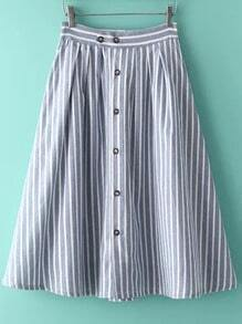 Blue Vertical Stripe Buttons Skirt