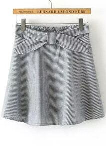 Grey Vertical Stripe Bow Skirt