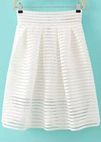 White Hollow Striped Flare Skirt