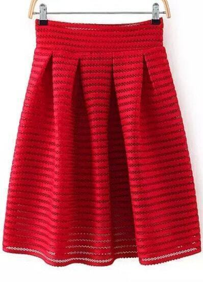 Red Hollow Striped Flare Skirt