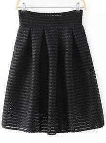 Black Hollow Striped Flare Skirt