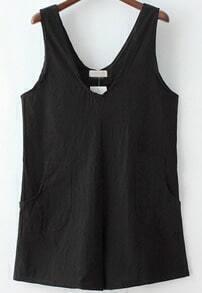 Black V Neck Pockets Loose Jumpsuit