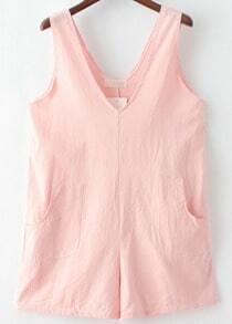 Pink V Neck Pockets Loose Jumpsuit
