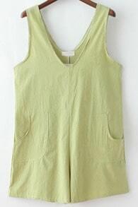 Green V Neck Pockets Loose Jumpsuit