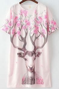 White Short Sleeve Deer Print Straight Dress