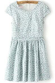 Blue Short Sleeve Floral Pleated Dress