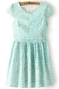 Green Short Sleeve Floral Pleated Dress