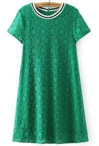 Green Short Sleeve Lace Loose Dress