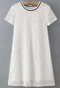 White Short Sleeve Lace Loose Dress