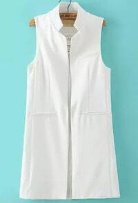 White Stand Collar Pockets Long Vest