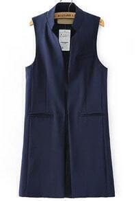 Navy Stand Collar Pockets Long Vest