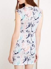 White Sleeveless V Neck Monroe Print Dress