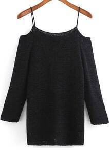 Black Spaghetti Strap Knit Loose Sweater