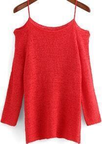 Watermelon Red Spaghetti Strap Knit Loose Sweater