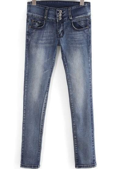 Blue Bleached High Waist Denim Pant