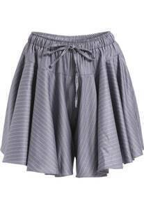 Grey Drawstring Waist Striped Loose Shorts