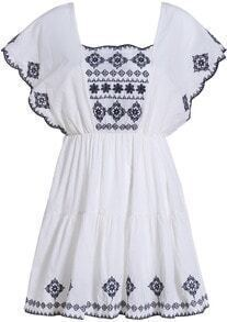 White Scoop Neck Ruffle Sleeve Embroidered Dress
