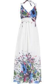 Blue Halter Spaghetti Strap Floral Maxi Dress