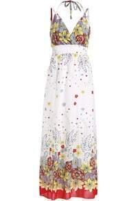 Yellow Halter Spaghetti Strap Floral Maxi Dress