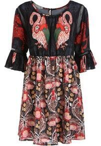 Black Bell Sleeve Floral Swan Print Dress