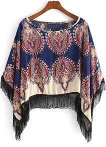 Blue Round Neck Tribal Print Tassel Blouse