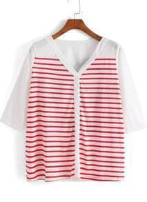 Red V Neck Striped Loose Blouse