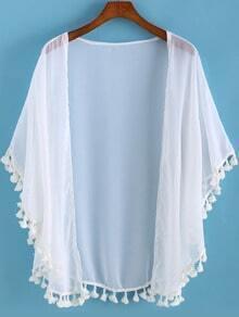 White Tassel Loose Chiffon Kimono