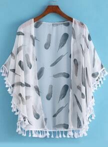 White Feather Print Tassel Loose Chiffon Kimono