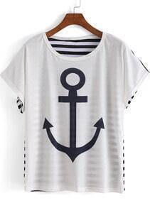 White Short Sleeve Striped Anchor Print T-Shirt