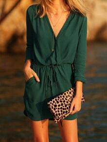 Green V Neck Drawstring Pockets Dress