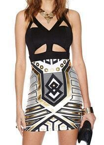 Black Strap Hollow Geometric Print Bodycon Dress