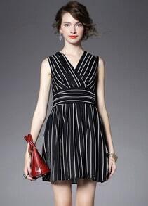 Black V Neck Sleeveless Vertical Stripe Slim Dress