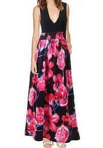Black V Neck Sleeveless Floral Maxi Dress