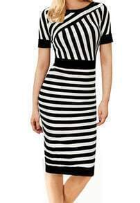 Black White Short Sleeve Striped Pencil Dress