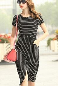 Black Short Sleeve Striped Drawstring Dress