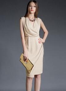 Beige V Neck Sleeveless Slim Dress