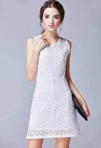White Round Neck Sleeveless Hollow Slim Dress