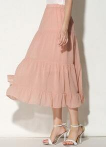 Pink Pleated Long Chiffon Skirt
