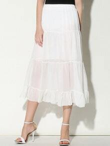 White Pleated Long Chiffon Skirt