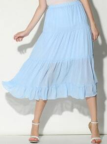 Blue Pleated Long Chiffon Skirt