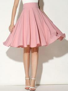 Pink High Waist Pleated Skirt
