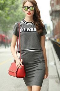 Grey Short Sleeve THE WORLD Print Top With skirt