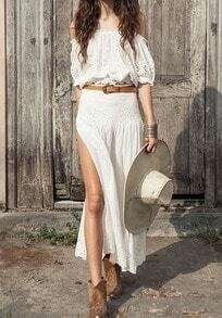 White Off the Shoulder Hollow Top With Split Skirt
