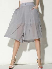 Grey Buttons Wide Leg Chiffon Crop Pant