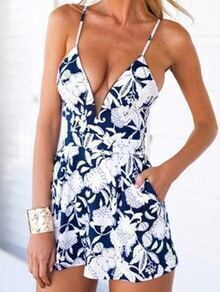 Blue Spaghetti Strap Backless Floral Jumpsuit