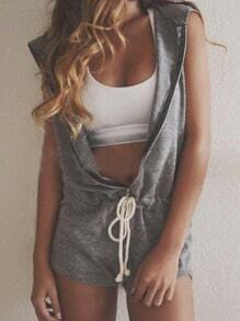 Grey Hooded Sleeveless Drawstring Zipper Jumpsuit