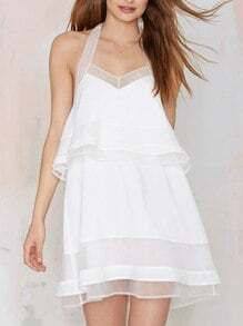 White Halter Backless Sheer Dress