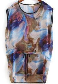 Multicolor Abstract Print High Low Loose Dress