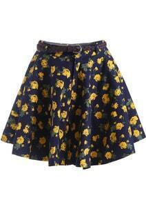 Navy Rose Print Flare Skirt