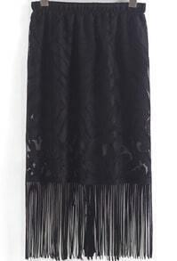 Black Elastic Waist Lace Tassel Skirt